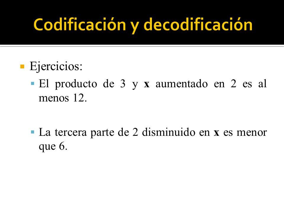 Ejercicios: El producto de 3 y x aumentado en 2 es al menos 12. La tercera parte de 2 disminuido en x es menor que 6.