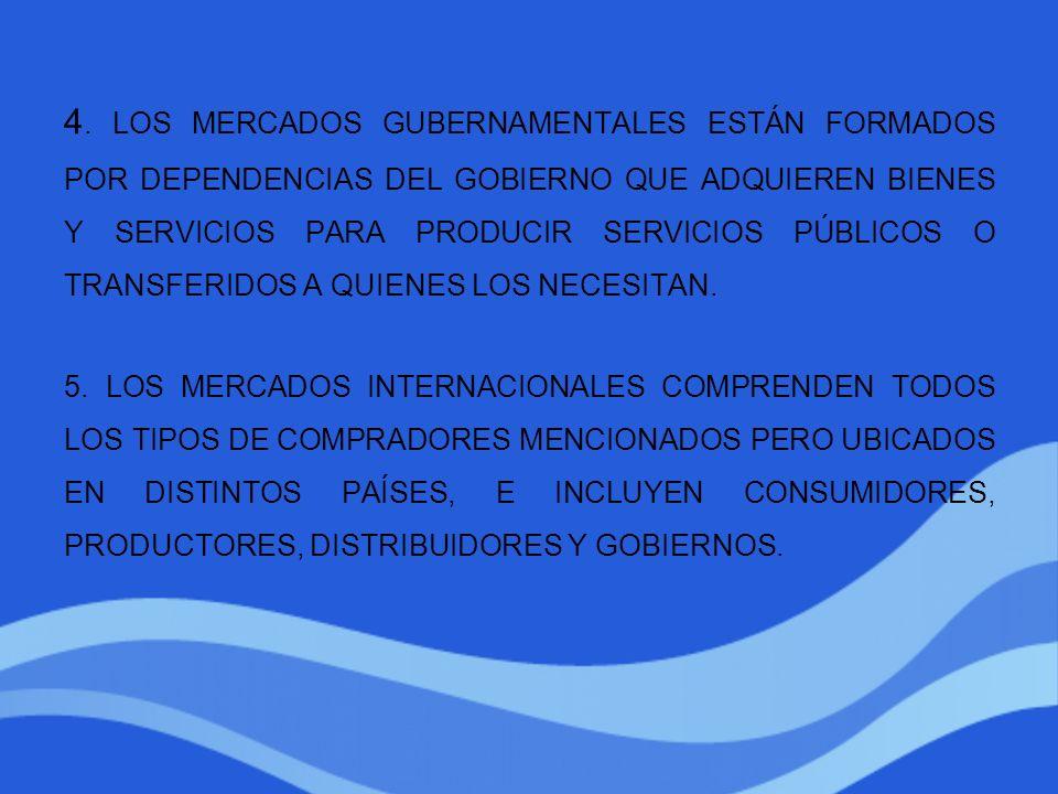 4. LOS MERCADOS GUBERNAMENTALES ESTÁN FORMADOS POR DEPENDENCIAS DEL GOBIERNO QUE ADQUIEREN BIENES Y SERVICIOS PARA PRODUCIR SERVICIOS PÚBLICOS O TRANS