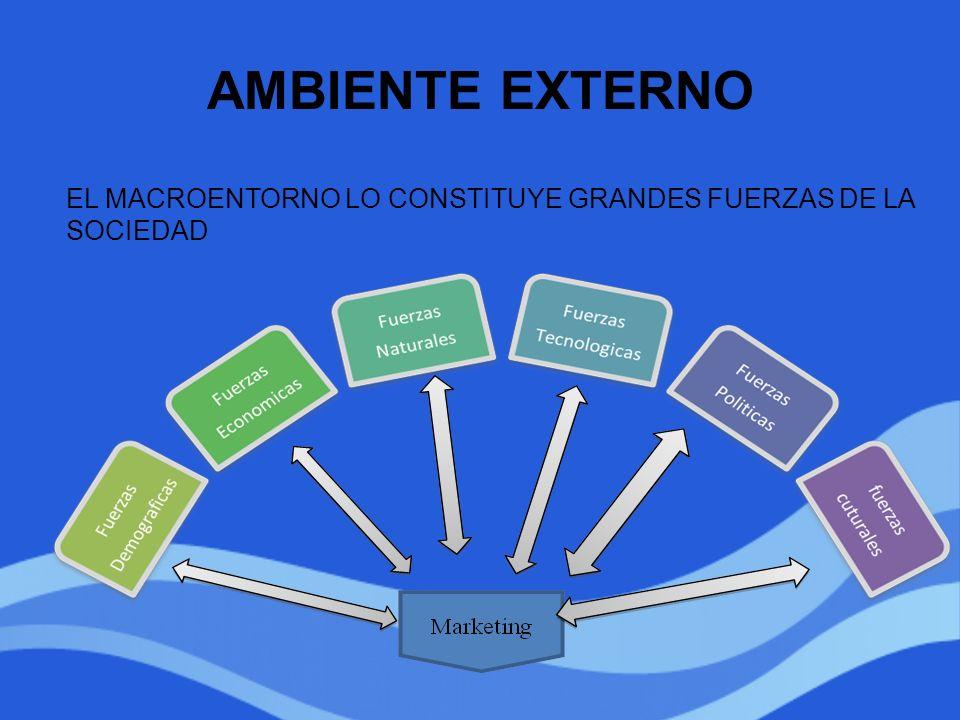 AMBIENTE EXTERNO EL MACROENTORNO LO CONSTITUYE GRANDES FUERZAS DE LA SOCIEDAD