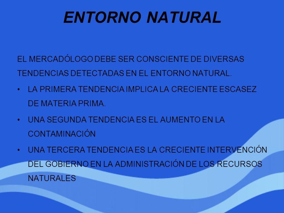 ENTORNO NATURAL EL MERCADÓLOGO DEBE SER CONSCIENTE DE DIVERSAS TENDENCIAS DETECTADAS EN EL ENTORNO NATURAL. LA PRIMERA TENDENCIA IMPLICA LA CRECIENTE