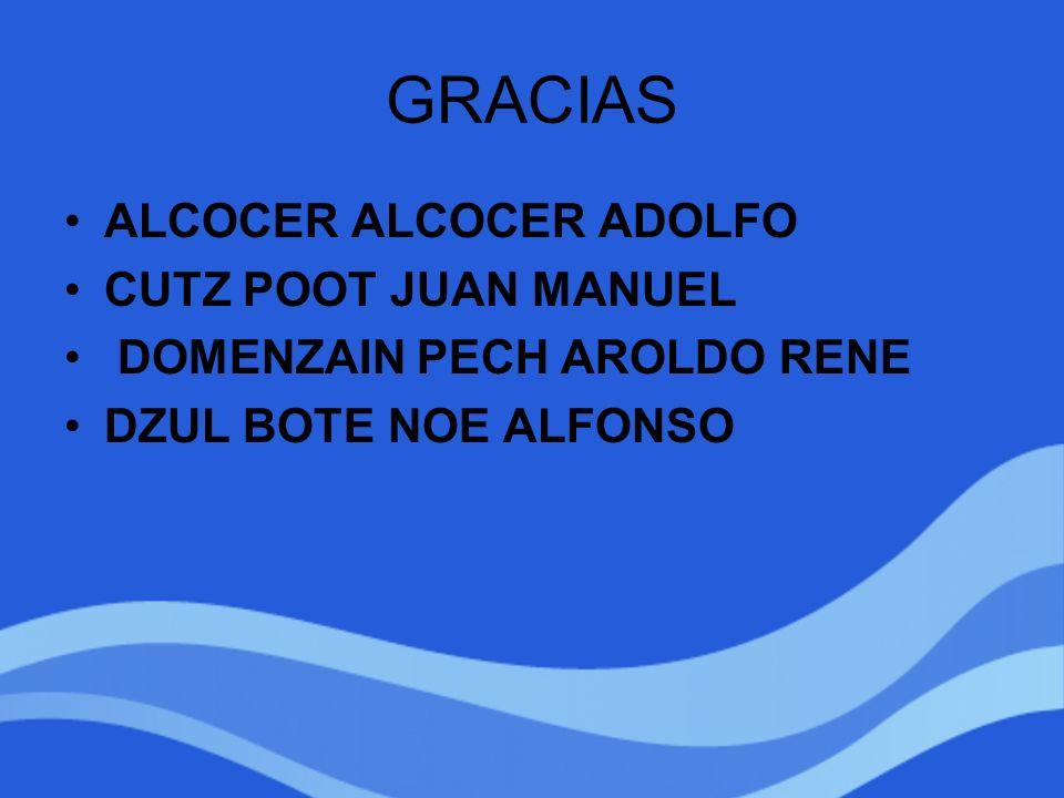 GRACIAS ALCOCER ALCOCER ADOLFO CUTZ POOT JUAN MANUEL DOMENZAIN PECH AROLDO RENE DZUL BOTE NOE ALFONSO
