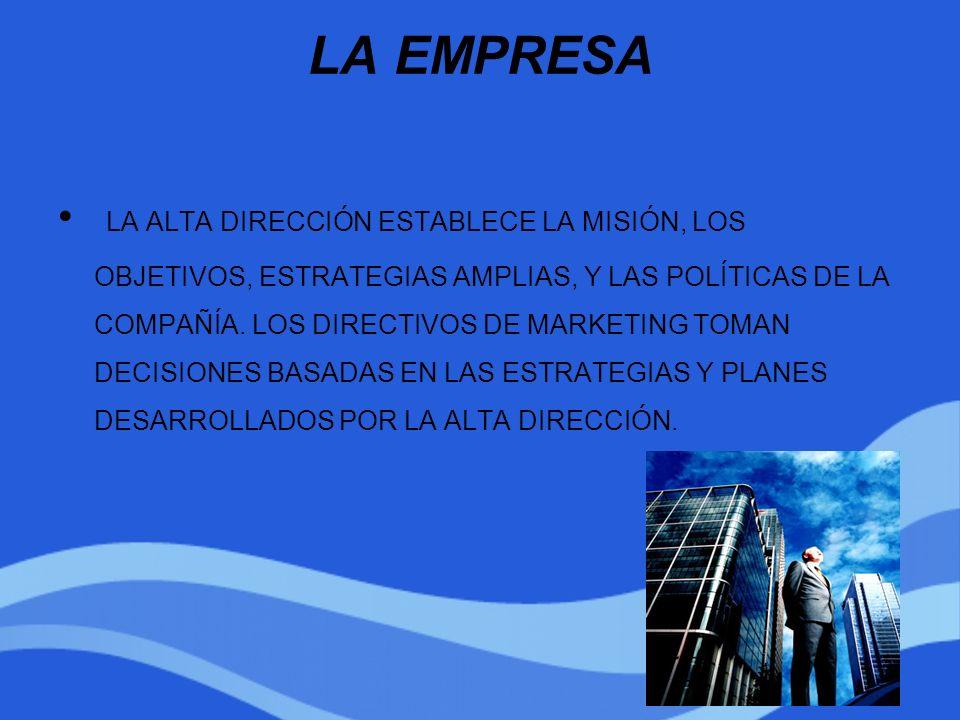 LA EMPRESA LA ALTA DIRECCIÓN ESTABLECE LA MISIÓN, LOS OBJETIVOS, ESTRATEGIAS AMPLIAS, Y LAS POLÍTICAS DE LA COMPAÑÍA. LOS DIRECTIVOS DE MARKETING TOMA