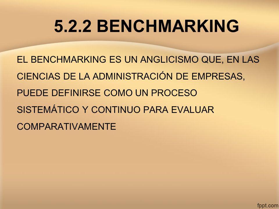 5.2.2 BENCHMARKING EL BENCHMARKING ES UN ANGLICISMO QUE, EN LAS CIENCIAS DE LA ADMINISTRACIÓN DE EMPRESAS, PUEDE DEFINIRSE COMO UN PROCESO SISTEMÁTICO