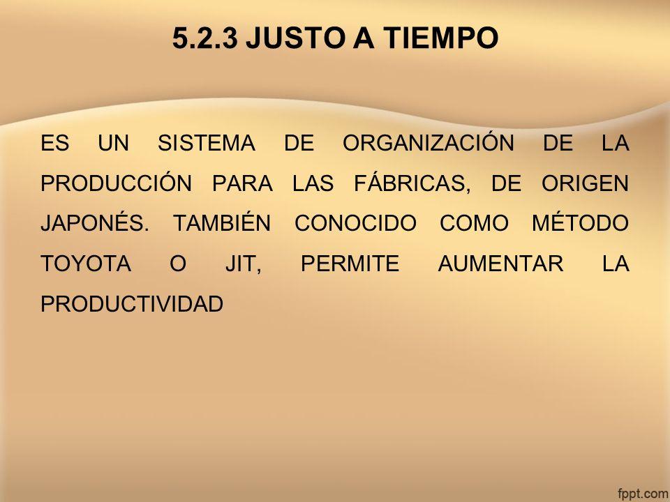 5.2.3 JUSTO A TIEMPO ES UN SISTEMA DE ORGANIZACIÓN DE LA PRODUCCIÓN PARA LAS FÁBRICAS, DE ORIGEN JAPONÉS. TAMBIÉN CONOCIDO COMO MÉTODO TOYOTA O JIT, P