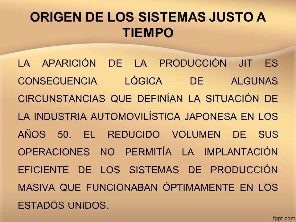 ORIGEN DE LOS SISTEMAS JUSTO A TIEMPO LA APARICIÓN DE LA PRODUCCIÓN JIT ES CONSECUENCIA LÓGICA DE ALGUNAS CIRCUNSTANCIAS QUE DEFINÍAN LA SITUACIÓN DE