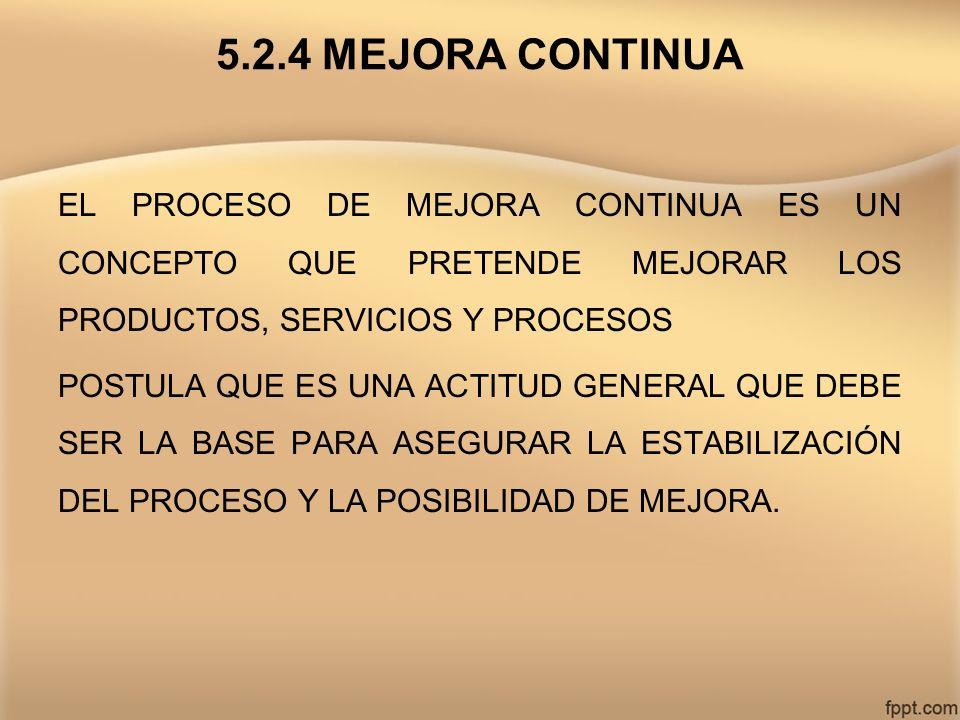 5.2.4 MEJORA CONTINUA EL PROCESO DE MEJORA CONTINUA ES UN CONCEPTO QUE PRETENDE MEJORAR LOS PRODUCTOS, SERVICIOS Y PROCESOS POSTULA QUE ES UNA ACTITUD