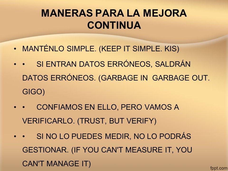 MANERAS PARA LA MEJORA CONTINUA MANTÉNLO SIMPLE. (KEEP IT SIMPLE. KIS) SI ENTRAN DATOS ERRÓNEOS, SALDRÁN DATOS ERRÓNEOS. (GARBAGE IN GARBAGE OUT. GIGO