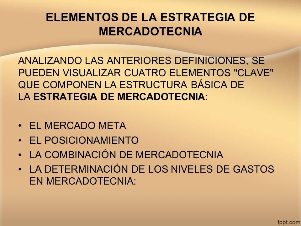 ELEMENTOS DE LA ESTRATEGIA DE MERCADOTECNIA ANALIZANDO LAS ANTERIORES DEFINICIONES, SE PUEDEN VISUALIZAR CUATRO ELEMENTOS