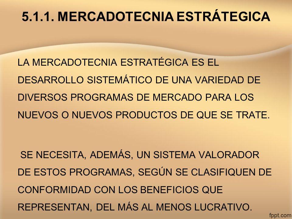 5.1.1. MERCADOTECNIA ESTRÁTEGICA LA MERCADOTECNIA ESTRATÉGICA ES EL DESARROLLO SISTEMÁTICO DE UNA VARIEDAD DE DIVERSOS PROGRAMAS DE MERCADO PARA LOS N
