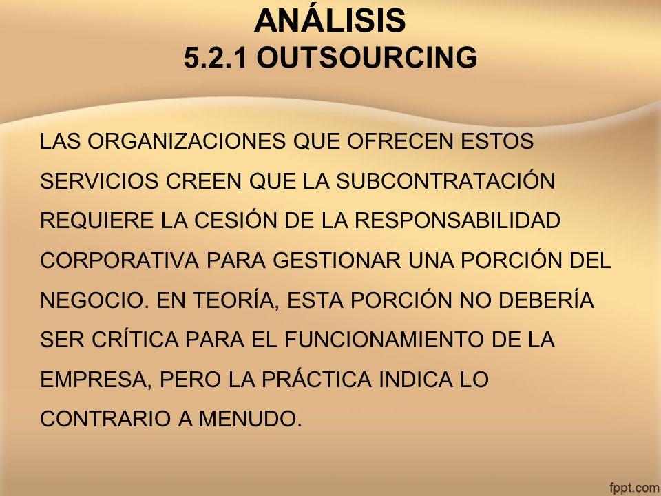 ANÁLISIS 5.2.1 OUTSOURCING LAS ORGANIZACIONES QUE OFRECEN ESTOS SERVICIOS CREEN QUE LA SUBCONTRATACIÓN REQUIERE LA CESIÓN DE LA RESPONSABILIDAD CORPOR