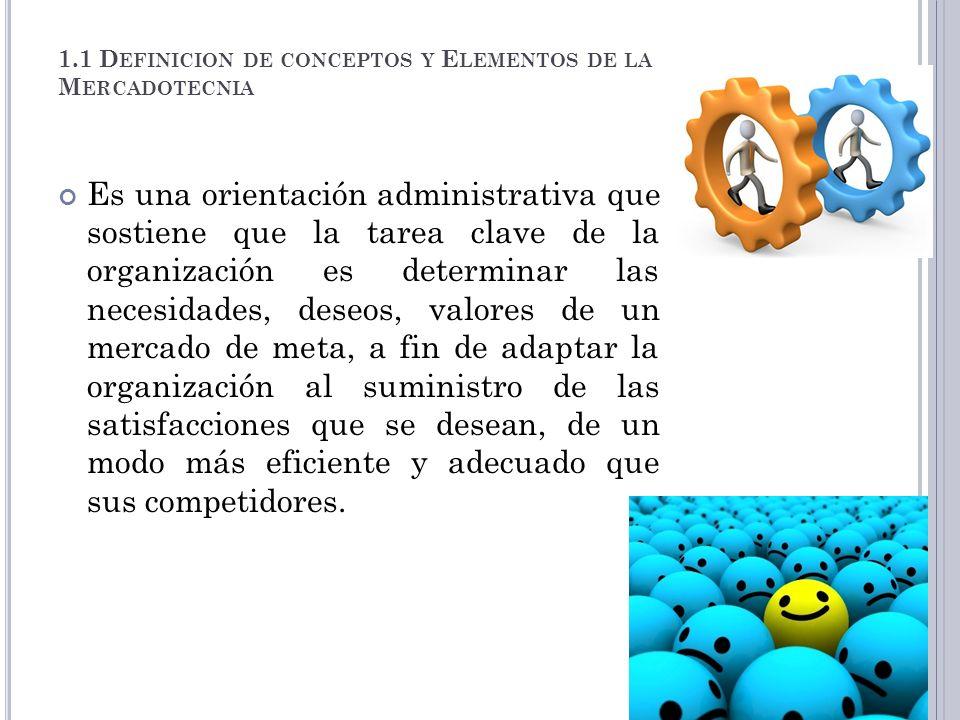 1.1 D EFINICION DE CONCEPTOS Y E LEMENTOS DE LA M ERCADOTECNIA Es una orientación administrativa que sostiene que la tarea clave de la organización es
