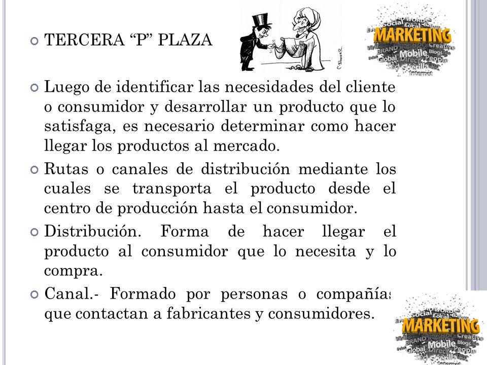TERCERA P PLAZA Luego de identificar las necesidades del cliente o consumidor y desarrollar un producto que lo satisfaga, es necesario determinar como