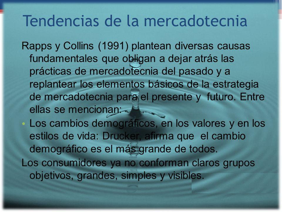 Tendencias de la mercadotecnia Rapps y Collins (1991) plantean diversas causas fundamentales que obligan a dejar atrás las prácticas de mercadotecnia