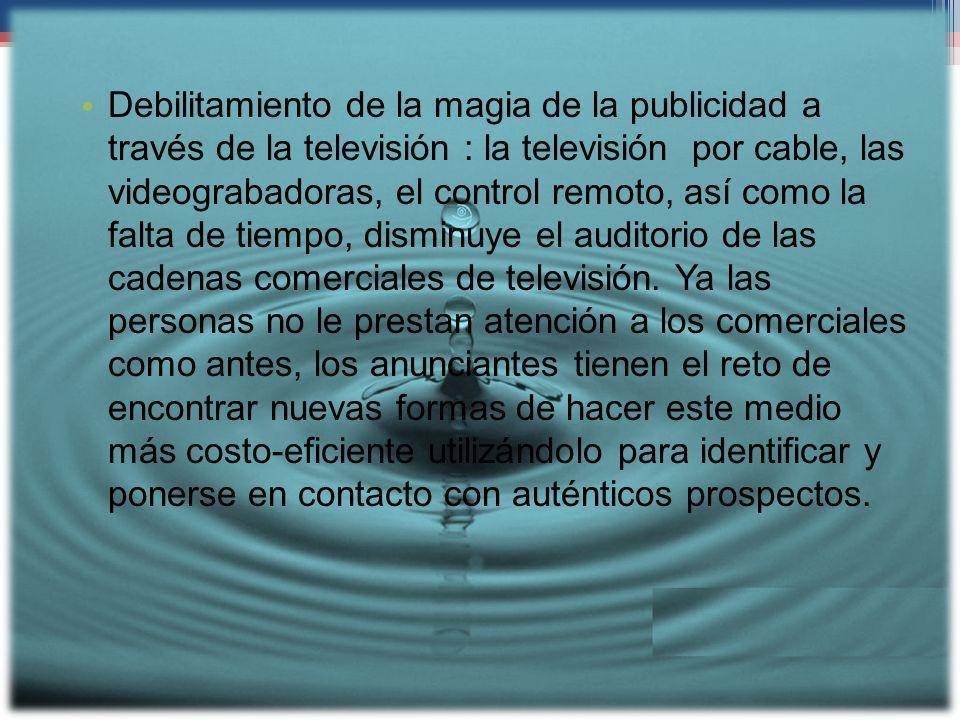 Debilitamiento de la magia de la publicidad a través de la televisión : la televisión por cable, las videograbadoras, el control remoto, así como la f