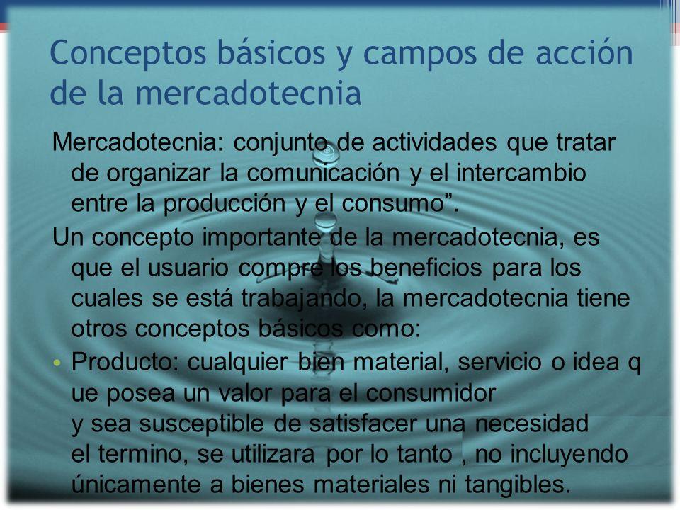 Conceptos básicos y campos de acción de la mercadotecnia Mercadotecnia: conjunto de actividades que tratar de organizar la comunicación y el intercamb