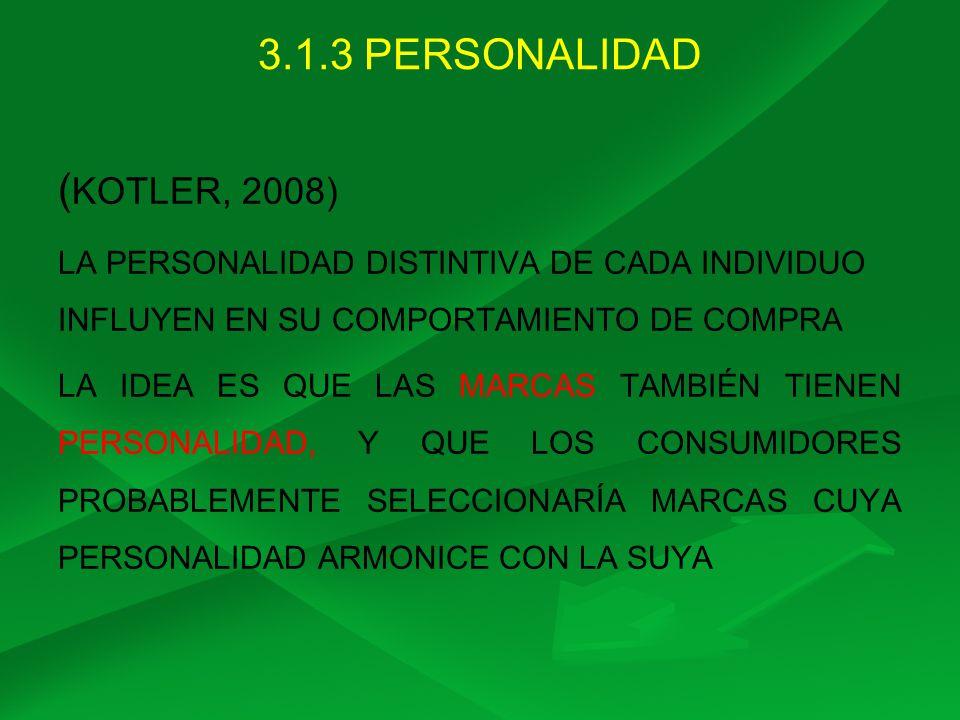 3.1.3 PERSONALIDAD ( KOTLER, 2008) LA PERSONALIDAD DISTINTIVA DE CADA INDIVIDUO INFLUYEN EN SU COMPORTAMIENTO DE COMPRA LA IDEA ES QUE LAS MARCAS TAMB