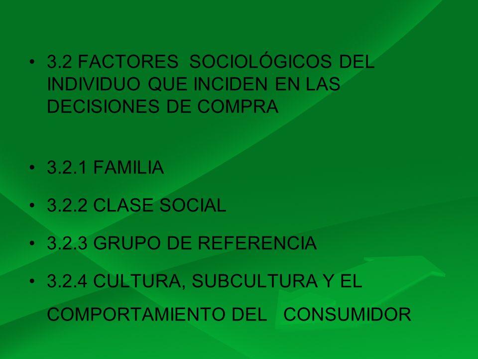 3.2 FACTORES SOCIOLÓGICOS DEL INDIVIDUO QUE INCIDEN EN LAS DECISIONES DE COMPRA 3.2.1 FAMILIA 3.2.2 CLASE SOCIAL 3.2.3 GRUPO DE REFERENCIA 3.2.4 CULTU