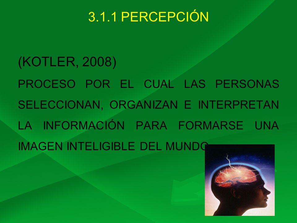 3.1.1 PERCEPCIÓN (KOTLER, 2008) PROCESO POR EL CUAL LAS PERSONAS SELECCIONAN, ORGANIZAN E INTERPRETAN LA INFORMACIÓN PARA FORMARSE UNA IMAGEN INTELIGI