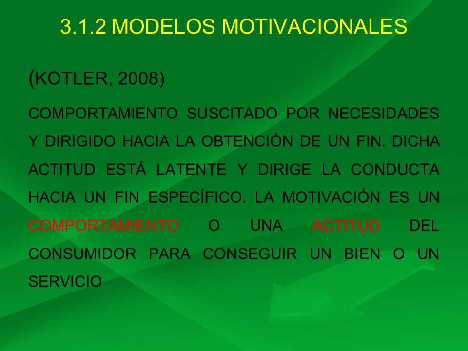 3.1.2 MODELOS MOTIVACIONALES ( KOTLER, 2008) COMPORTAMIENTO SUSCITADO POR NECESIDADES Y DIRIGIDO HACIA LA OBTENCIÓN DE UN FIN. DICHA ACTITUD ESTÁ LATE