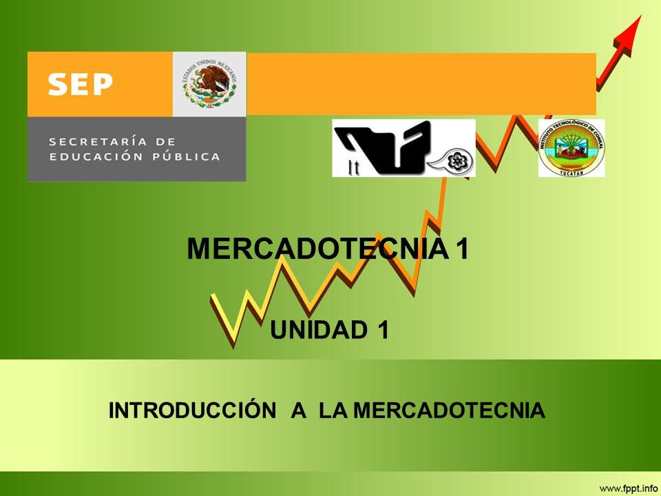 MERCADOTECNIA 1 INTRODUCCIÓN A LA MERCADOTECNIA UNIDAD 1