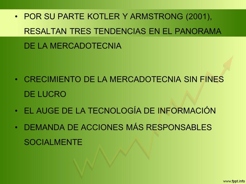 POR SU PARTE KOTLER Y ARMSTRONG (2001), RESALTAN TRES TENDENCIAS EN EL PANORAMA DE LA MERCADOTECNIA CRECIMIENTO DE LA MERCADOTECNIA SIN FINES DE LUCRO EL AUGE DE LA TECNOLOGÍA DE INFORMACIÓN DEMANDA DE ACCIONES MÁS RESPONSABLES SOCIALMENTE