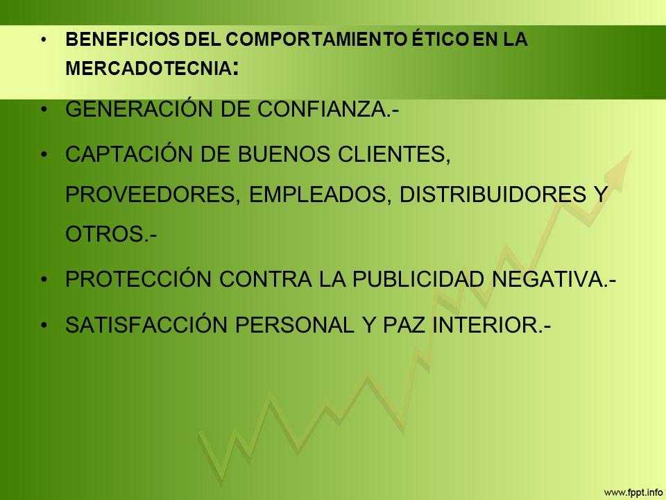 BENEFICIOS DEL COMPORTAMIENTO ÉTICO EN LA MERCADOTECNIA : GENERACIÓN DE CONFIANZA.- CAPTACIÓN DE BUENOS CLIENTES, PROVEEDORES, EMPLEADOS, DISTRIBUIDORES Y OTROS.- PROTECCIÓN CONTRA LA PUBLICIDAD NEGATIVA.- SATISFACCIÓN PERSONAL Y PAZ INTERIOR.-