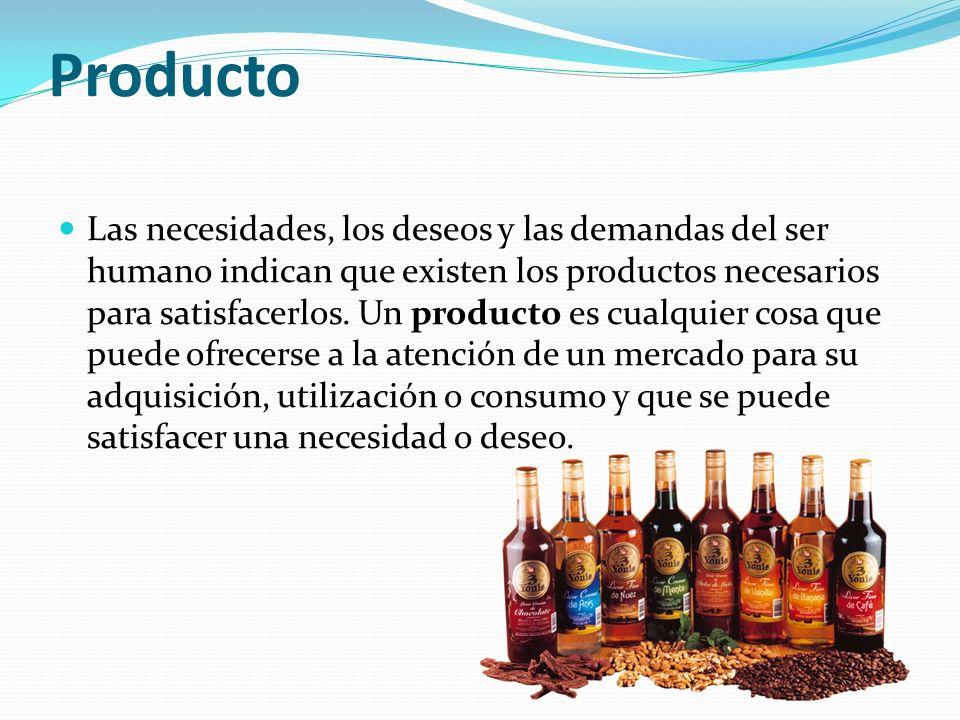 Producto Las necesidades, los deseos y las demandas del ser humano indican que existen los productos necesarios para satisfacerlos. Un producto es cua