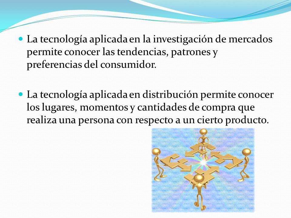 La tecnología aplicada en la investigación de mercados permite conocer las tendencias, patrones y preferencias del consumidor. La tecnología aplicada