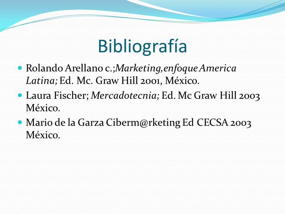 Bibliografía Rolando Arellano c.;Marketing,enfoque America Latina; Ed. Mc. Graw Hill 2001, México. Laura Fischer; Mercadotecnia; Ed. Mc Graw Hill 2003