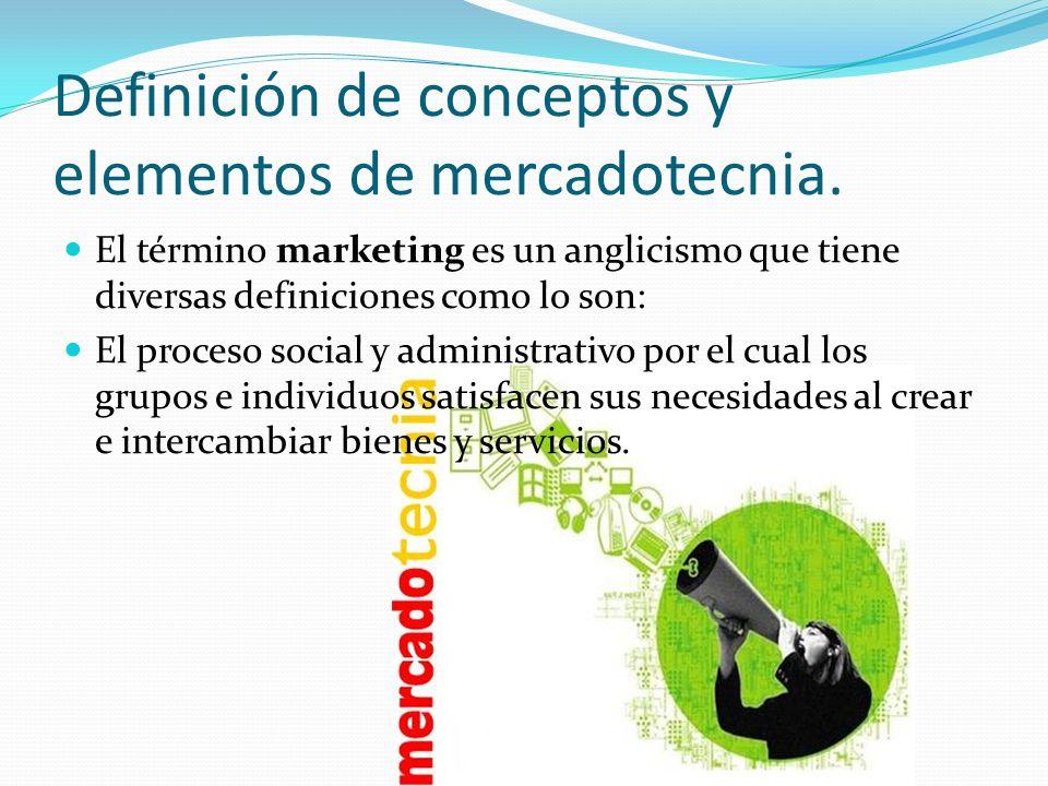 Definición de conceptos y elementos de mercadotecnia. El término marketing es un anglicismo que tiene diversas definiciones como lo son: El proceso so