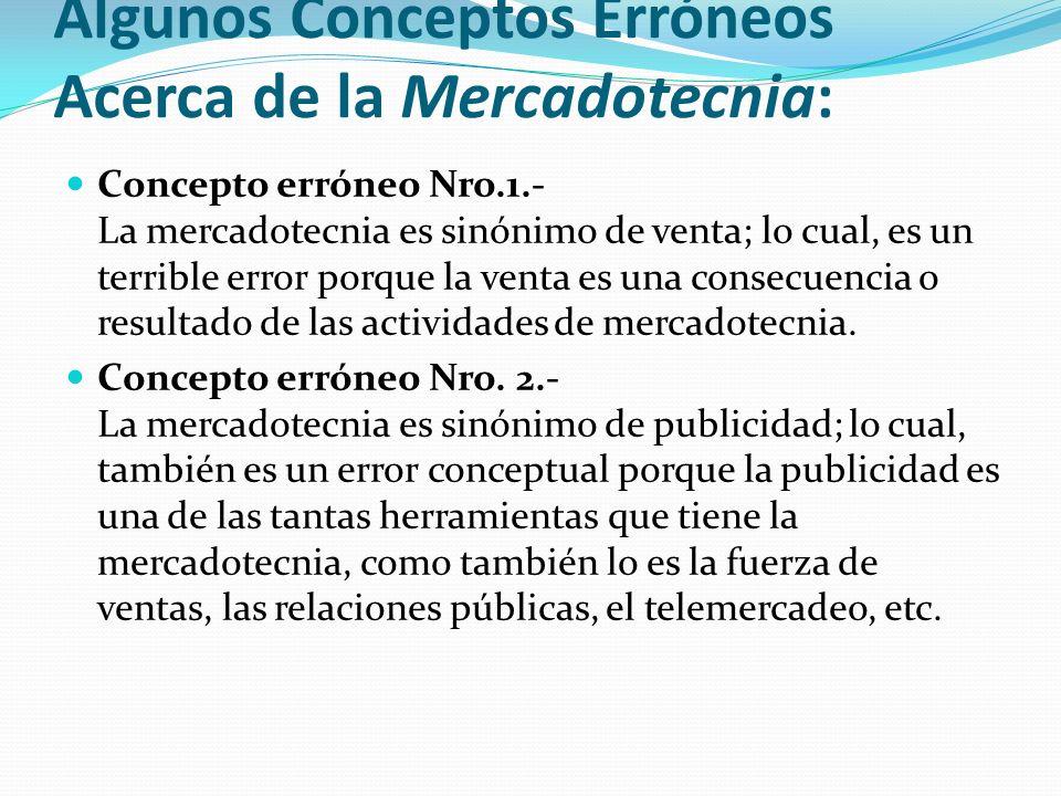 Algunos Conceptos Erróneos Acerca de la Mercadotecnia: Concepto erróneo Nro.1.- La mercadotecnia es sinónimo de venta; lo cual, es un terrible error p