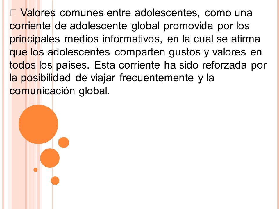 Valores comunes entre adolescentes, como una corriente de adolescente global promovida por los principales medios informativos, en la cual se afirma q