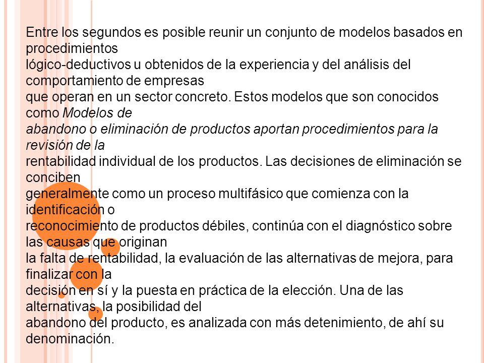 Entre los segundos es posible reunir un conjunto de modelos basados en procedimientos lógico-deductivos u obtenidos de la experiencia y del análisis d