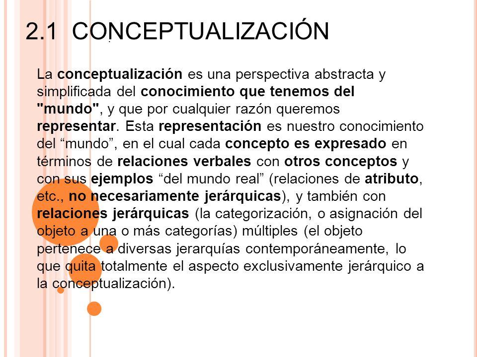 Conceptualizar, por lo tanto, puede ser considerado como el desarrollo o construcción de ideas abstractas a partir de la experiencia: nuestra comprensión consciente (no necesariamente verdadera) del mundo.
