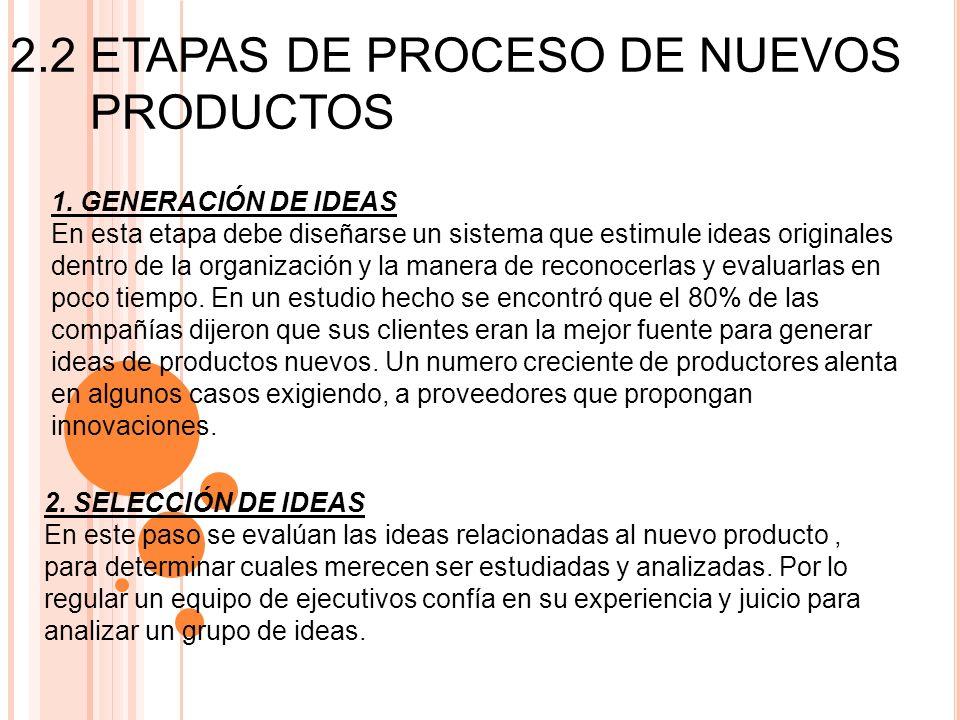 2.2 ETAPAS DE PROCESO DE NUEVOS PRODUCTOS 1. GENERACIÓN DE IDEAS En esta etapa debe diseñarse un sistema que estimule ideas originales dentro de la or