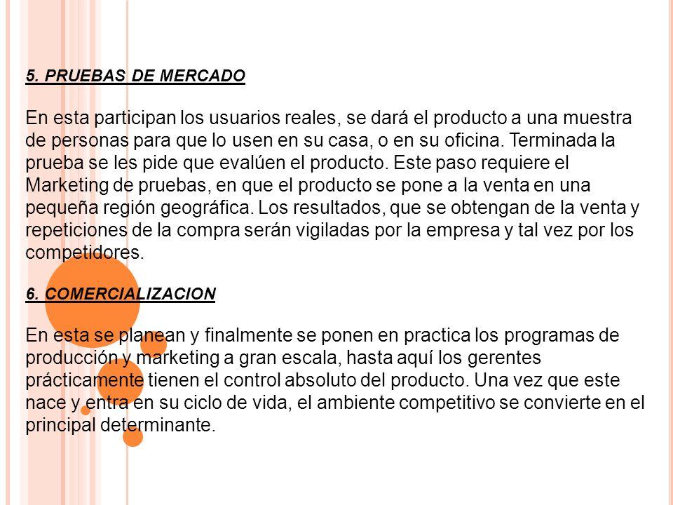 5. PRUEBAS DE MERCADO En esta participan los usuarios reales, se dará el producto a una muestra de personas para que lo usen en su casa, o en su ofici