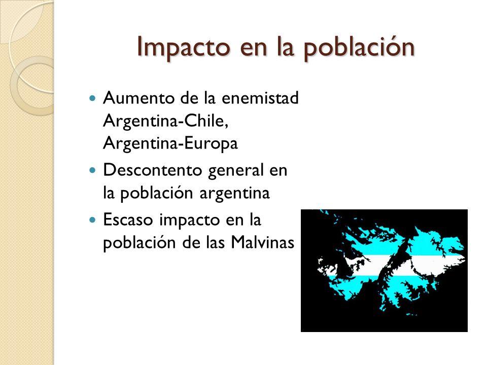 Impacto en la población Aumento de la enemistad Argentina-Chile, Argentina-Europa Descontento general en la población argentina Escaso impacto en la p