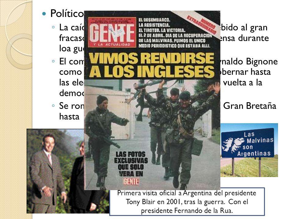 Políticos: La caída del régimen militar argentino, debido al gran fracaso militar y la manipulación de la prensa durante loa guerra a su favor. El com