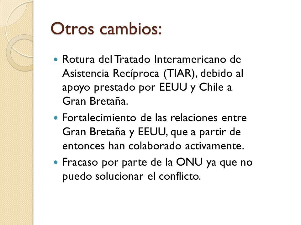 Otros cambios: Rotura del Tratado Interamericano de Asistencia Recíproca (TIAR), debido al apoyo prestado por EEUU y Chile a Gran Bretaña. Fortalecimi