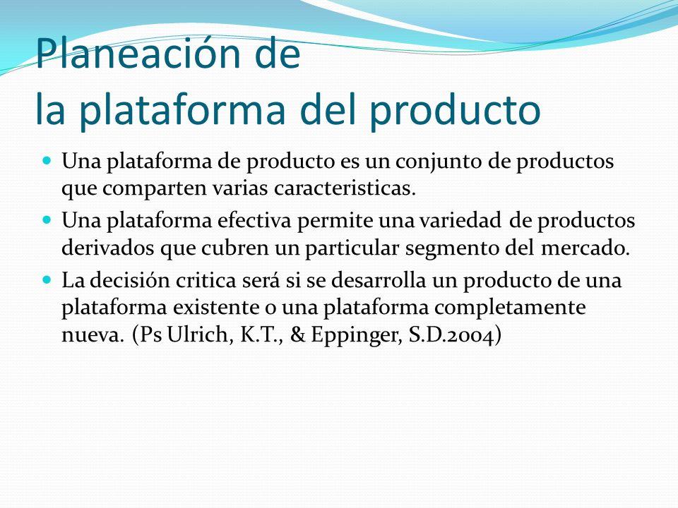 Planeación de la plataforma del producto Una plataforma de producto es un conjunto de productos que comparten varias caracteristicas. Una plataforma e