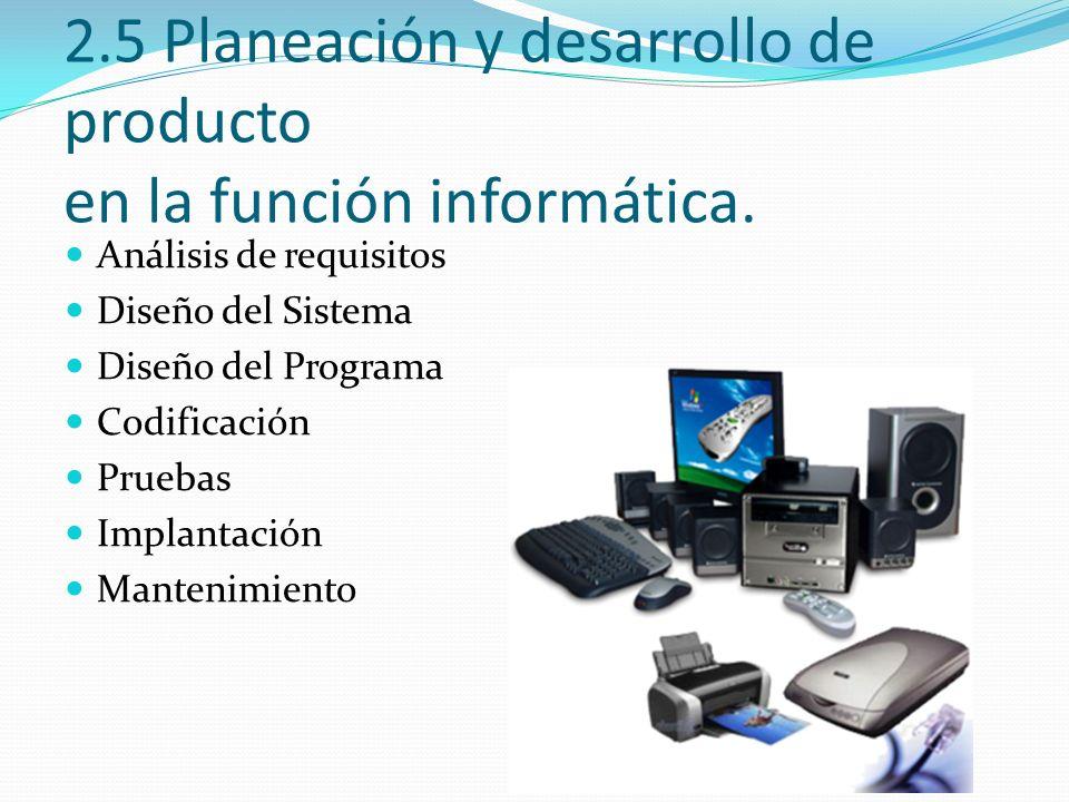 2.5 Planeación y desarrollo de producto en la función informática. Análisis de requisitos Diseño del Sistema Diseño del Programa Codificación Pruebas