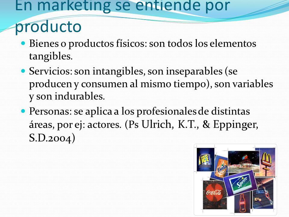 En marketing se entiende por producto Bienes o productos físicos: son todos los elementos tangibles. Servicios: son intangibles, son inseparables (se