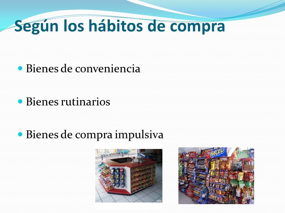 Según los hábitos de compra Bienes de conveniencia Bienes rutinarios Bienes de compra impulsiva