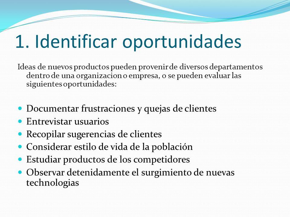 Nuevas Ideas pueden venir de: ClientesProveedoresSocios Clientes potenciales Equipo de diseño Personal de Tecnología Personal de Manufactura Personal de Operaciones Personal de Mercadotécnia