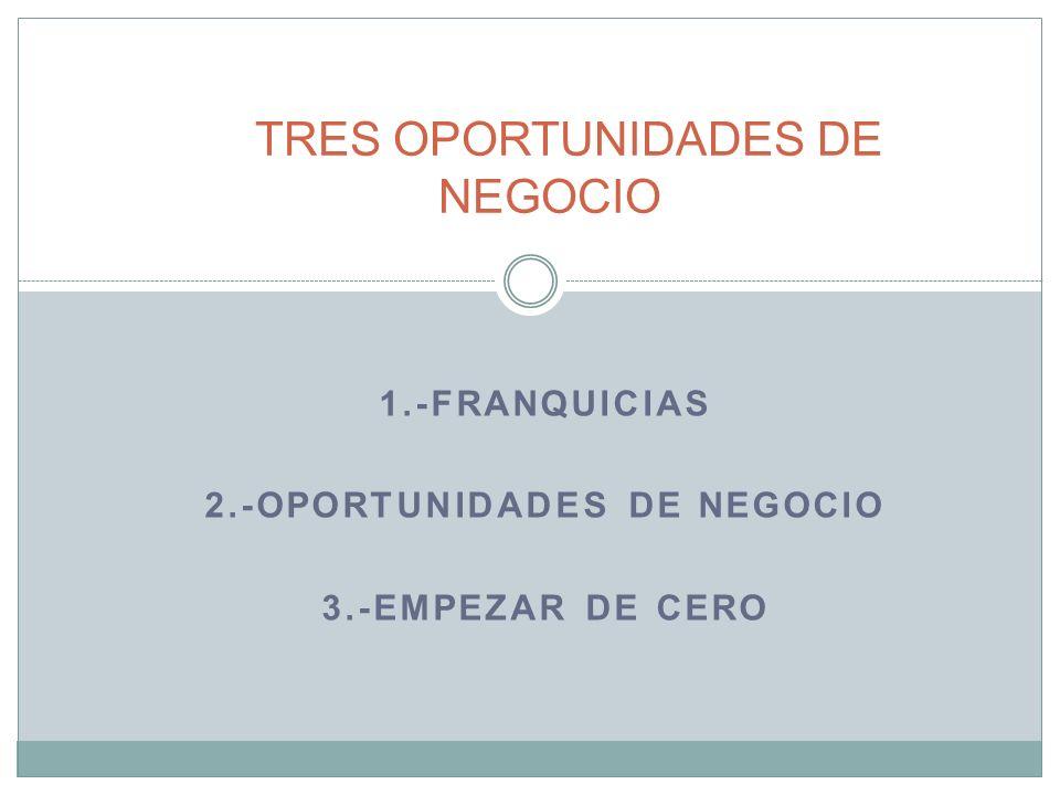 1.-FRANQUICIAS 2.-OPORTUNIDADES DE NEGOCIO 3.-EMPEZAR DE CERO TRES OPORTUNIDADES DE NEGOCIO