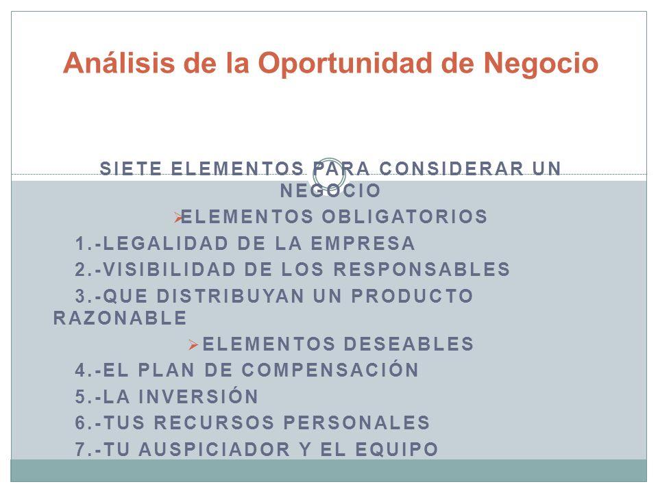 SIETE ELEMENTOS PARA CONSIDERAR UN NEGOCIO ELEMENTOS OBLIGATORIOS 1.-LEGALIDAD DE LA EMPRESA 2.-VISIBILIDAD DE LOS RESPONSABLES 3.-QUE DISTRIBUYAN UN PRODUCTO RAZONABLE ELEMENTOS DESEABLES 4.-EL PLAN DE COMPENSACIÓN 5.-LA INVERSIÓN 6.-TUS RECURSOS PERSONALES 7.-TU AUSPICIADOR Y EL EQUIPO Análisis de la Oportunidad de Negocio
