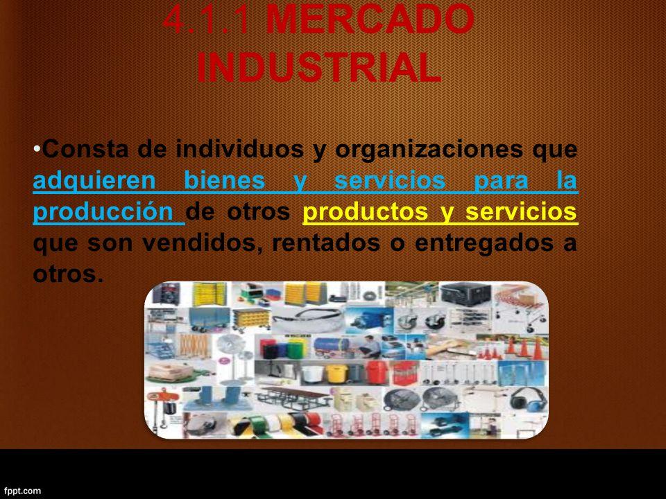 4.1.1 MERCADO INDUSTRIAL Consta de individuos y organizaciones que adquieren bienes y servicios para la producción de otros productos y servicios que son vendidos, rentados o entregados a otros.