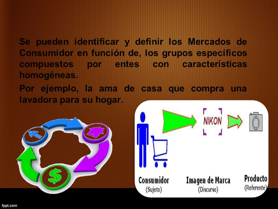 Se pueden identificar y definir los Mercados de Consumidor en función de, los grupos específicos compuestos por entes con características homogéneas.