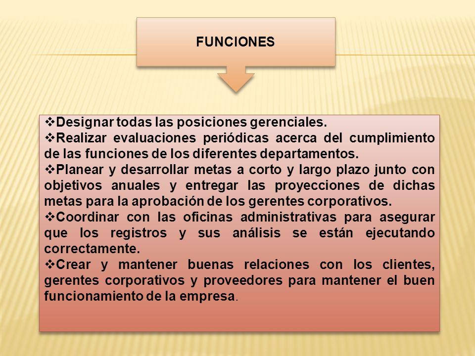 FUNCIONES Designar todas las posiciones gerenciales. Realizar evaluaciones periódicas acerca del cumplimiento de las funciones de los diferentes depar