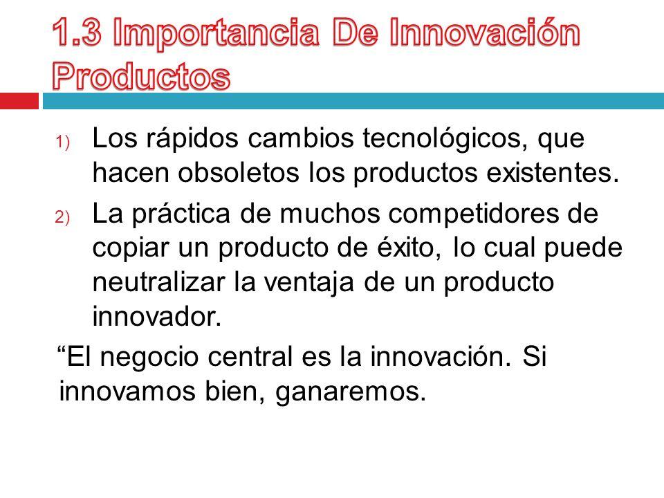 1) Los rápidos cambios tecnológicos, que hacen obsoletos los productos existentes. 2) La práctica de muchos competidores de copiar un producto de éxit